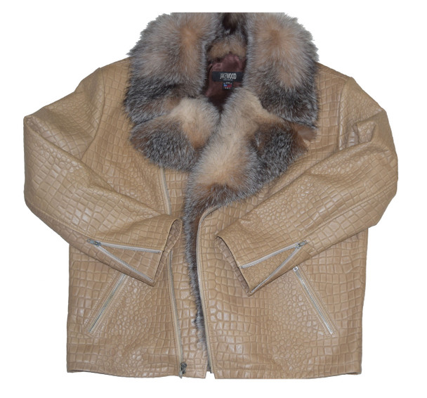 Embossed Leather Jacket with Fox Collar