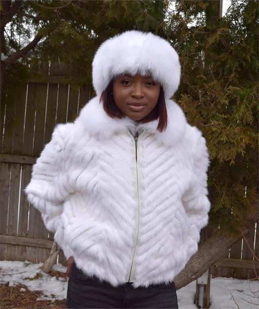Ladies White Chevron Mink Tails Jacket