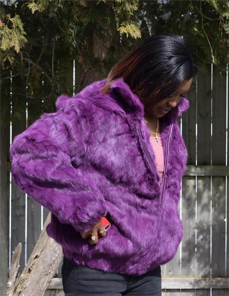 Purple Rabbit Fur Ladies Coat