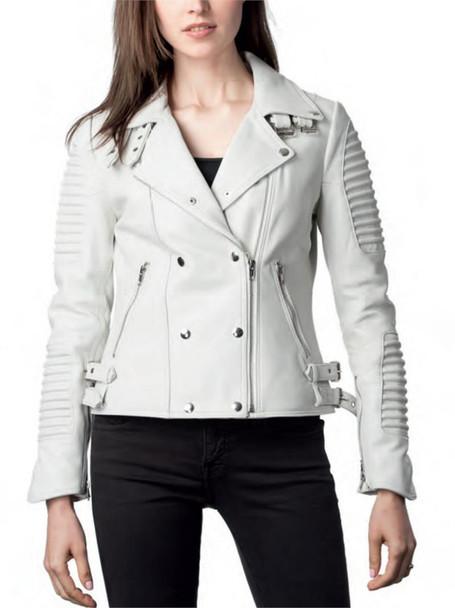 Zippered Ladies White Leather Moto Jacket