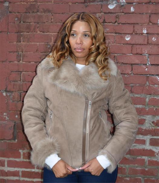 Light Pilot Style Sheepskin Ladies Jacket