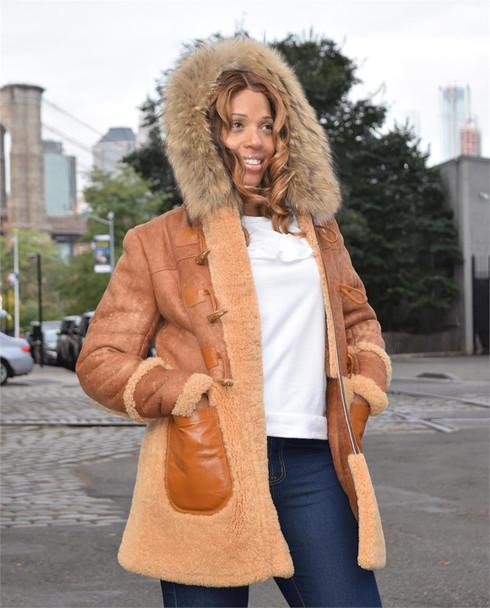 Inside Out Ladies Long Sheepskin Jacket