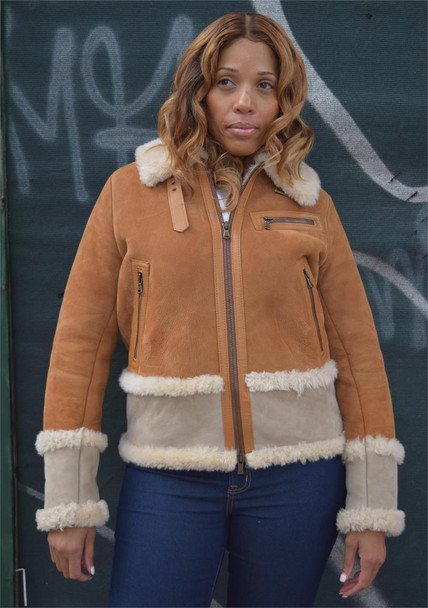 Two Tone Ladies Sheepskin Jacket