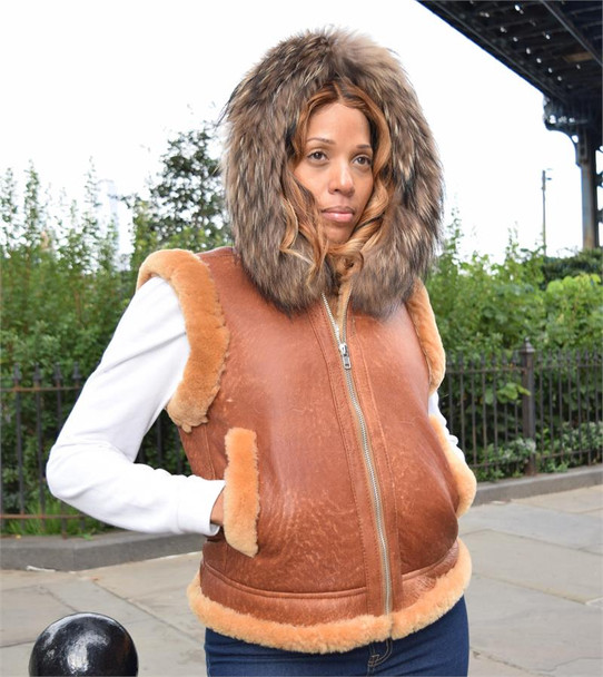 Cognac Sheepskin Hooded Ladies Vest