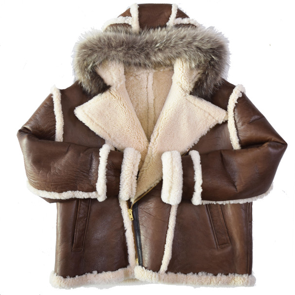 Brown Nappa Shearling coat with fox trim hood