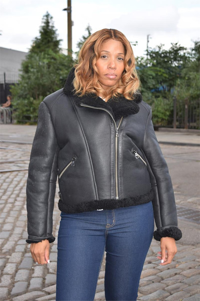 Black Ladies Pilot Sheepskin Jacket
