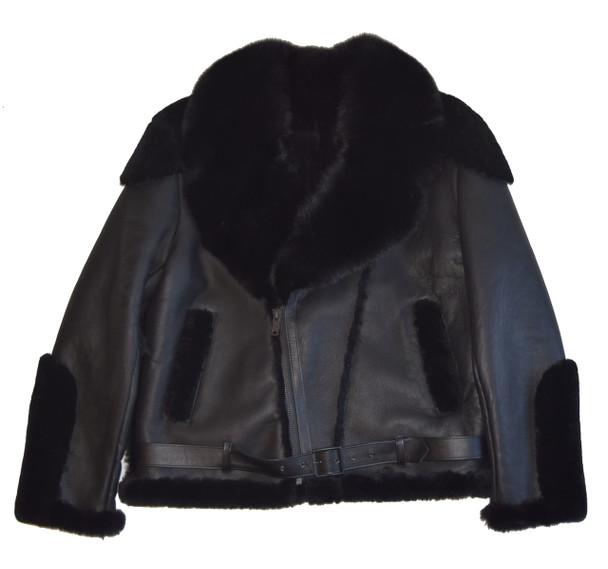 Black Napa Sheepskin Jacket with fox collar
