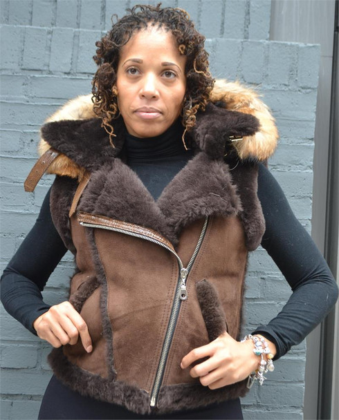 Heavy Brown Ladies Sheepskin Vest