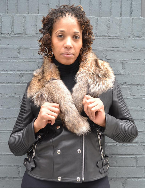 Ladies Ribbed Arm Leather Moto Jacket with Fox Fur Collar