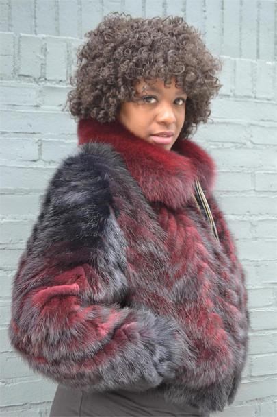 Burgundy Ladies Mink Tails Fur Jacket