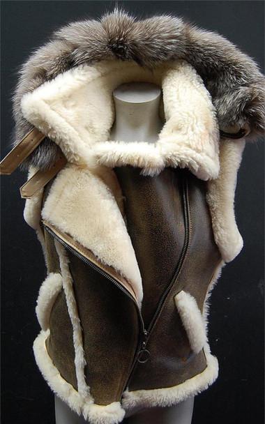 Brown Ladies Sheepskin Hooded Vest