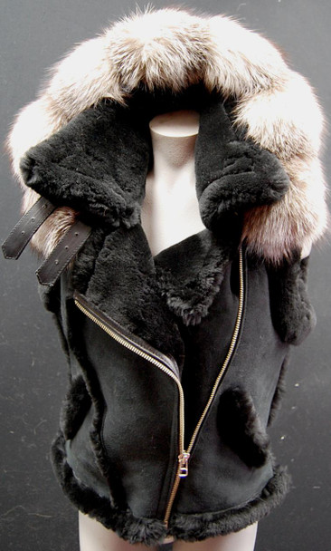 Black Ladies Sheepskin Hooded Vest