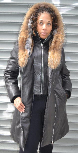 Lambskin Goose Down Raccoon Fur Trim Jacket