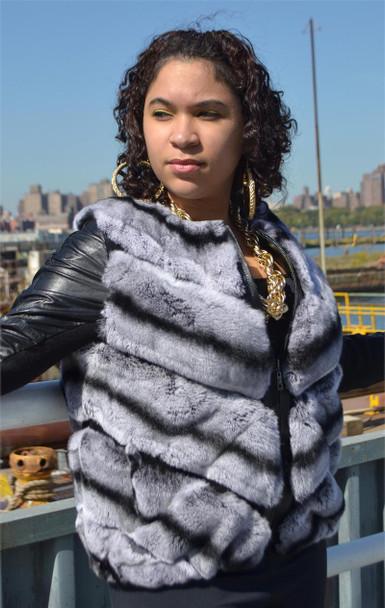 Short Rex Rabbit Fur Jacket with Leather Trim