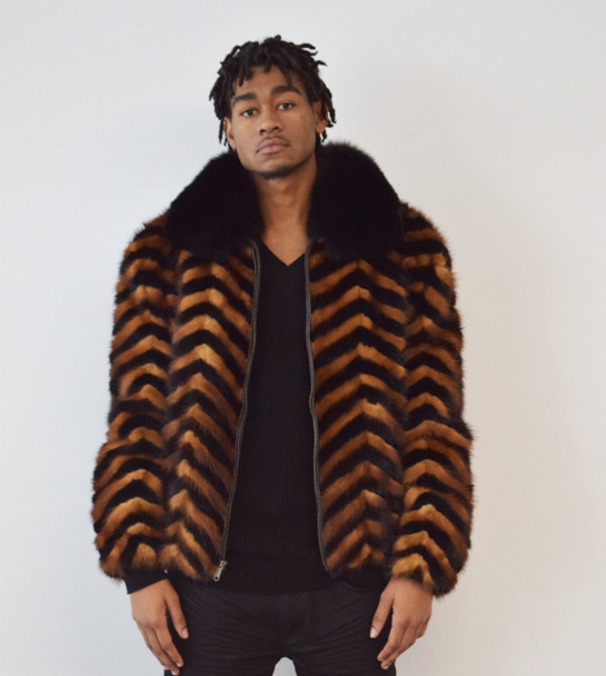 Chevron Mink Section Whiskey and Black Fur Jacket