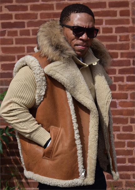 Jakewood G Gator Tonka Hooded Sheepskin Vest with Coyote Fur hiphopcloset.com