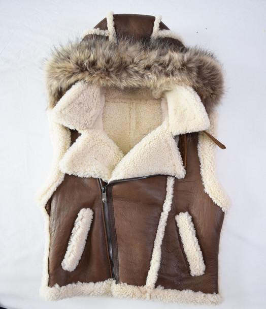 Jakewood G Gator Hooded Brown Nappa Sheepskin Vest with Fur