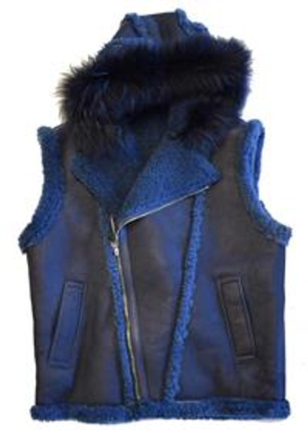 Jakewood G Gator Dark Blue Hooded Sheepskin Vest with Fox Fur Hood