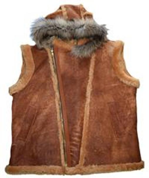 Jakewood G Gator Antique Tan Sheepskin Vest with Coyote Fur Hood