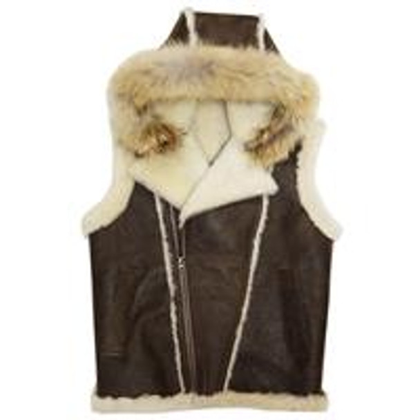 Jakewood G Gator Antique Brown Sheepskin Vest with Coyote Fur Hood