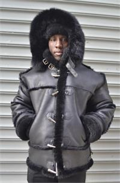DLNYC Black Nappa Sheepskin Jacket with hood