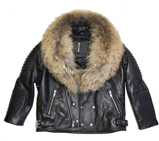 Kids Black Moto Jacket with Fur Collar
