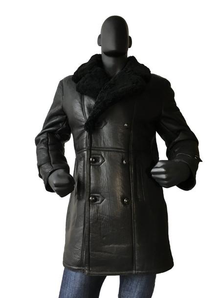Black Sheepskin Trench Coat