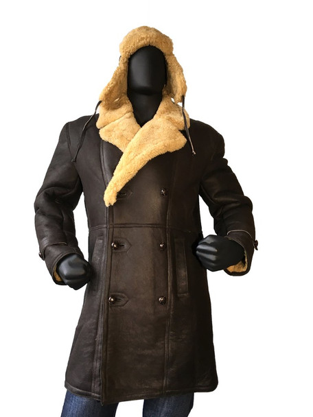 Brown Sheepskin Trench Coat