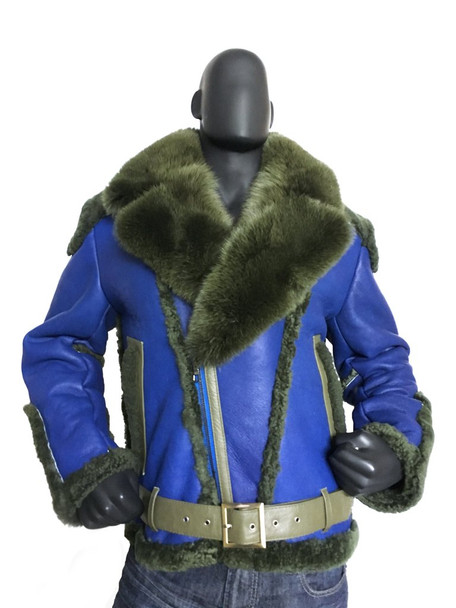 Blue Napa Racing Sheepskin Jacket with fox collar