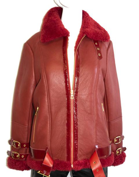 Red ladies Pilot Shearling Jacket