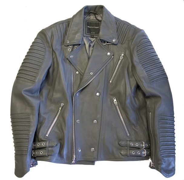 Grey Leather Ribbed Arm Motorcycle Jacket