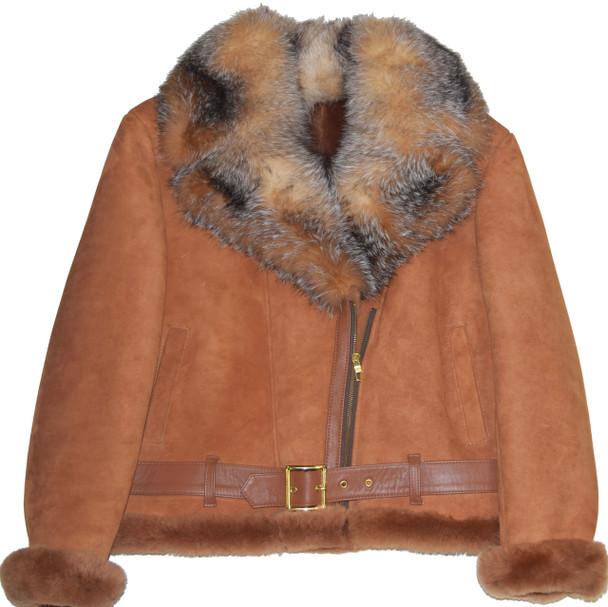 Tan Short Sheepskin with Fox Fur Collar