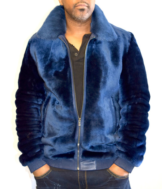 Royal Blue Mouton Fur Bomber