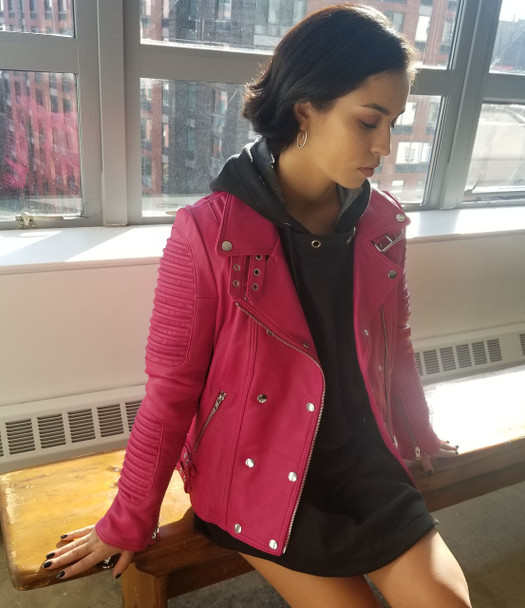 Hot Pink ladies Moto leather jacket