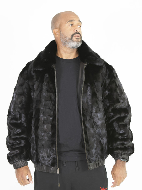 Black Reversible Full Skin Mink to Leather Bomber Jacket
