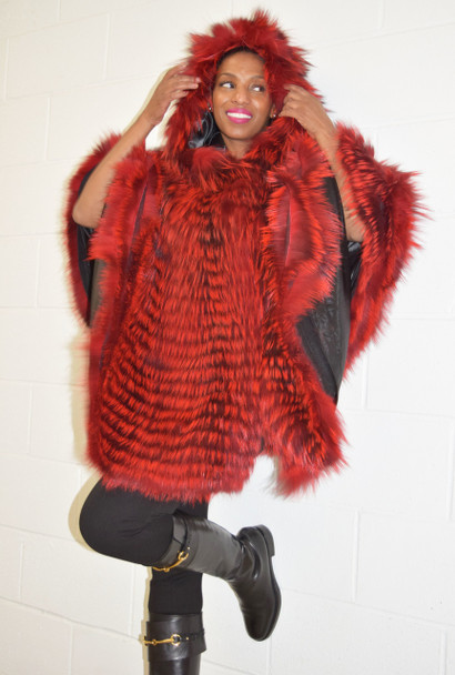 Red Hooded Fur Cape