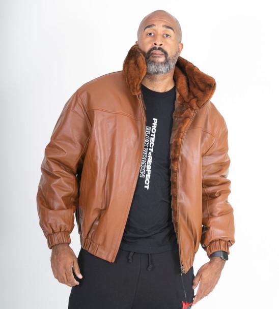 Tan Reversible Full Skin Mink to Leather Jacket