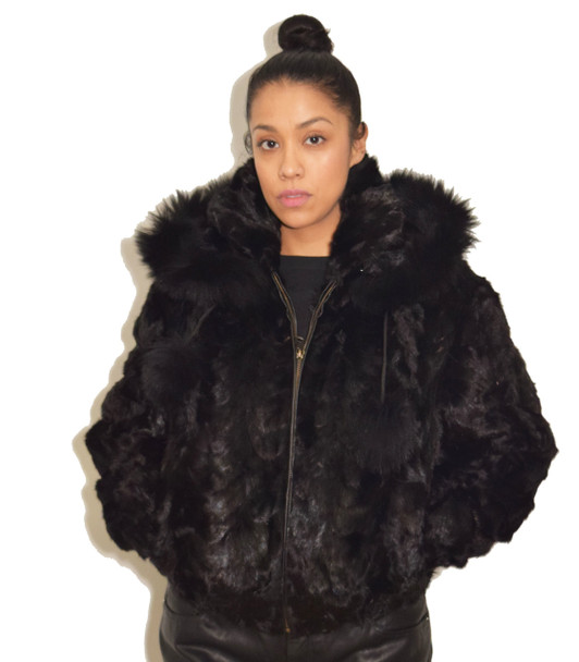 Hooded Mink Ladies Bomber Jacket