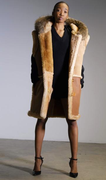 Multi Tan Sheepskin Vest with Fox trim Hood