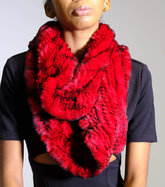 Red Mink Infinity Scarf