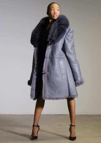 Unisex Blue Iris Shearling Trench Coat