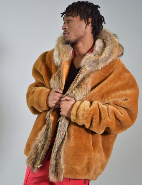 Tan Mouton Fur Bomber Jacket