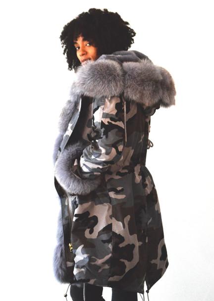 Gray Camo Fur Lined Parka