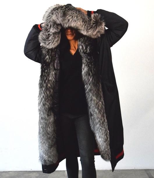 Long Blue Varsity DLNYC Fur Lined Jacket