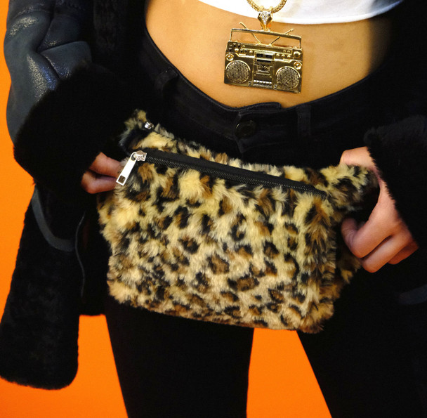 Leopard Print Faux Fur Waistbag