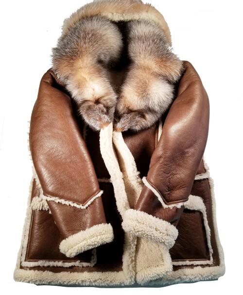Brown Sheepskin Three Quarter Coat with Fox Hood
