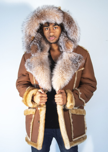 Tan Sheepskin Three Quarter With Fox Trim Collar and Hood Jacket