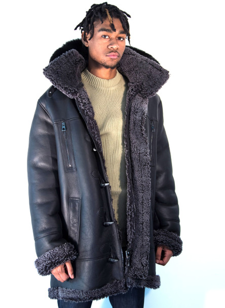 Black Three Quarter Sheepskin with Fox Hood