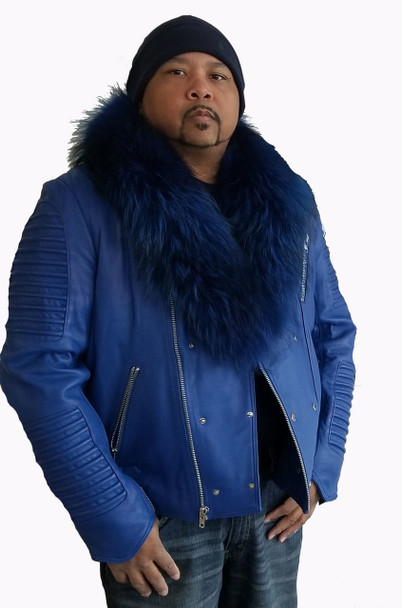 Royal Blue Moto Jacket with Fur Collar