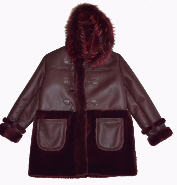 Wine Inside Out Sheepskin Jacket
